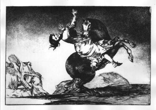 """Francisco de Goya """"Disparates, Das Pferd als Frauenräuber"""" Aquatinta-Radierung, 1864"""