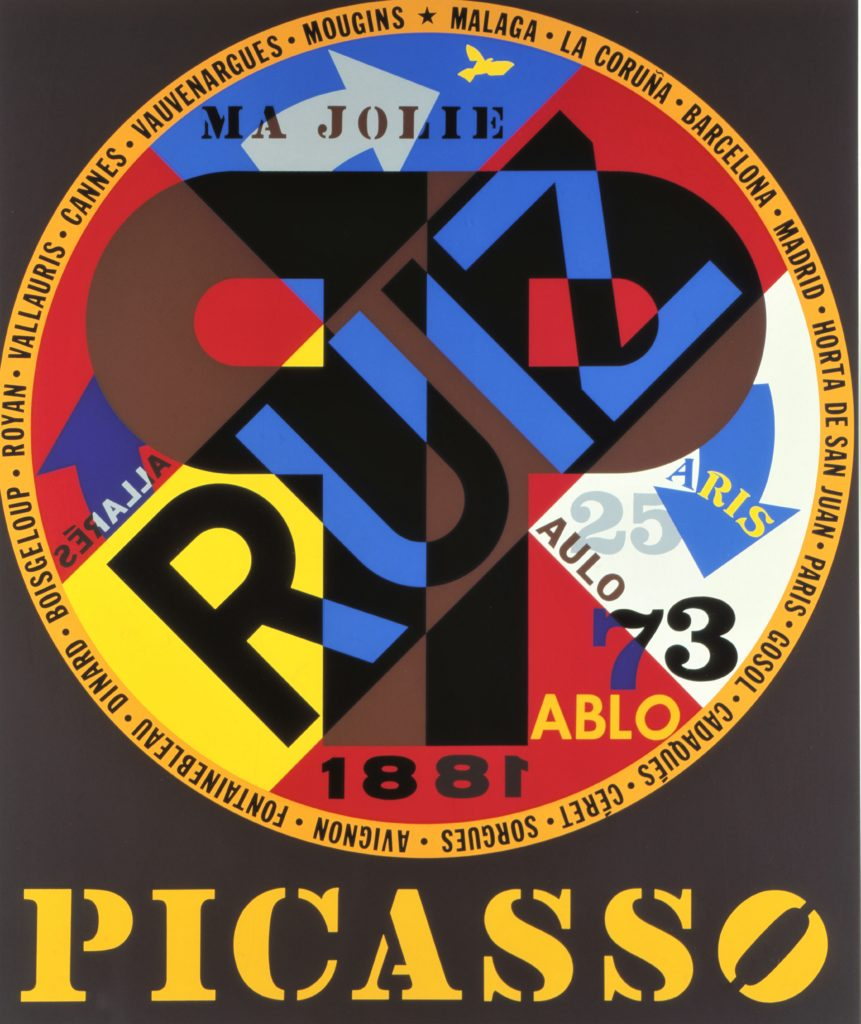 "Robert Indiana ""Hommage à Picasso"" Farbserigrafie, 1973"