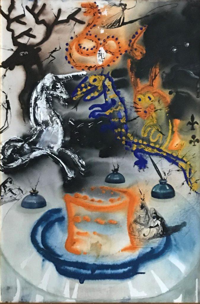 """Salvador Dalí """"Who stole the Tarts"""" Gemälde Gouache, 1968"""