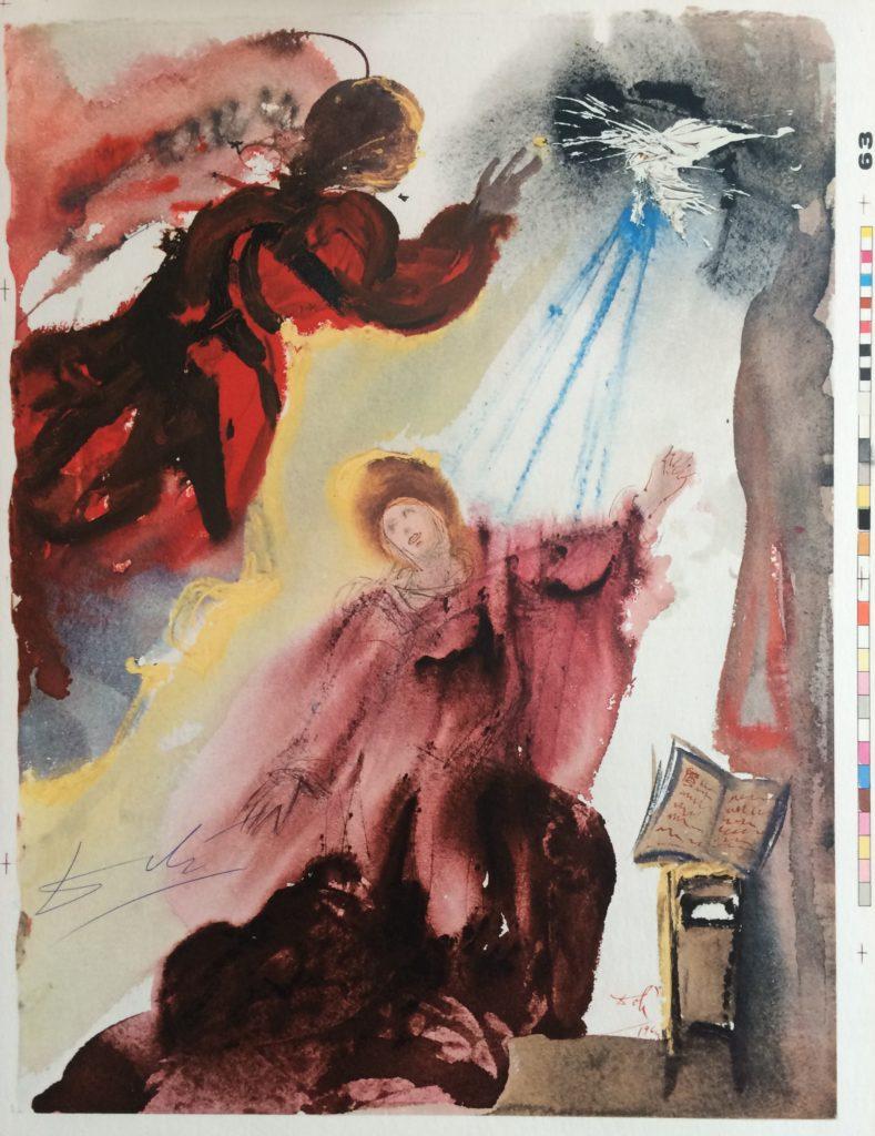 "Salvador Dalí ""Biblia Sacra, Die Verkuendigung Mariens"" Farblithografie, 1967"