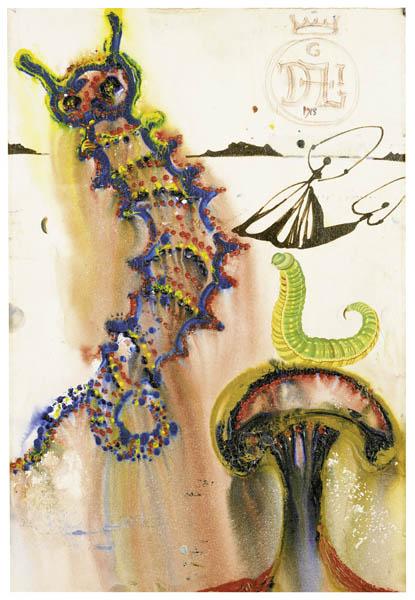 """Salvador Dalí """"Caterpillar"""" Gemälde Gouache, 1968"""