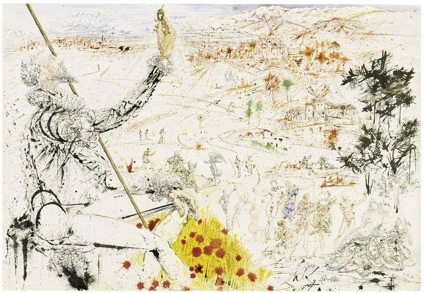 """Salvador Dalí """"Das Goldene Zeitalter"""" Aquarell, 1957"""
