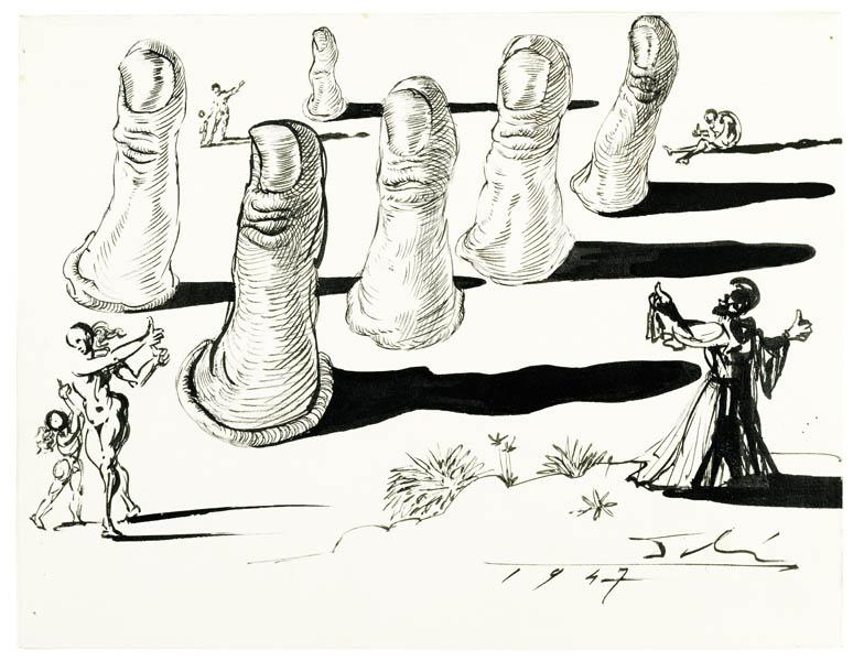 """Salvador Dalí """"Kathedrale der Daumen"""" Federzeichnung, 1947"""