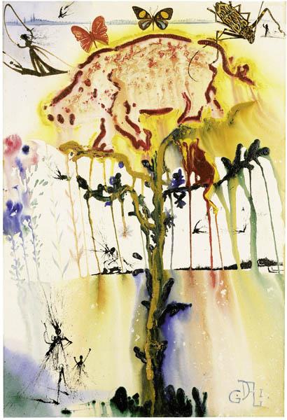 """Salvador Dalí """"Pig and Pepper"""" Gemälde Gouache, 1968"""