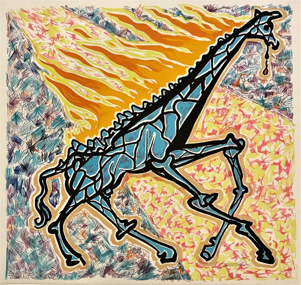 La girafe en feu