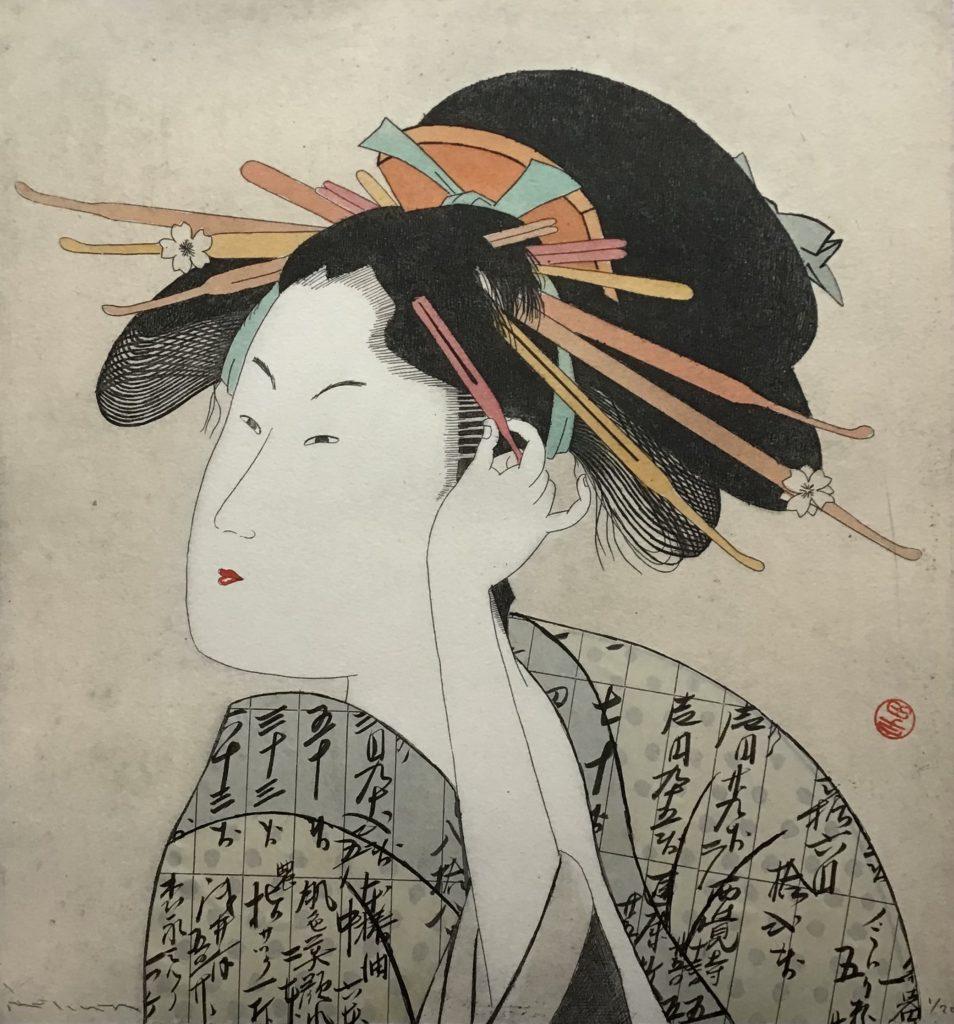 Geisha beim Haare richten