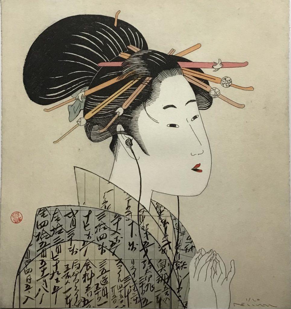 Geisha beim Musikhören